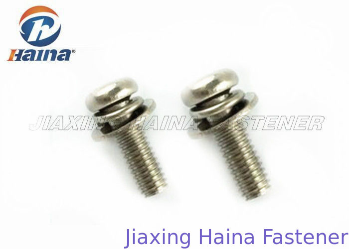 Cross Recessed Stainless Steel Pan Head Screws With Flat  Washer / Spring Washer